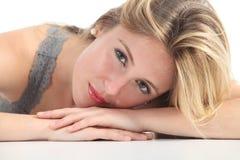 Portrait of a beautiful woman face stock photos