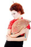 Portrait of beautiful woman with fan Royalty Free Stock Image