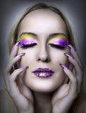 Portrait of beautiful woman, fashion make up Stock Photography