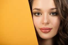 Portrait of a beautiful woman. Fashion makeup Fragment of the face. royalty free stock images