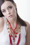 Portrait of beautiful woman with fashionable jewelry Stock Image