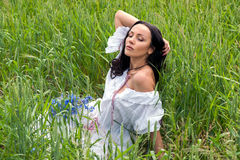 Portrait of beautiful woman in the field Royalty Free Stock Image