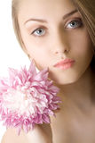 Portrait Beautiful woman with flower isolated Stock Photos