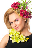 Portrait of beautiful woman with flowers Stock Images