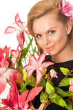 Portrait of beautiful woman with flowers Stock Photos