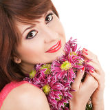 Portrait of a beautiful woman with flowers Royalty Free Stock Photography