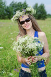 Portrait of the beautiful woman on a forest glade Royalty Free Stock Photography