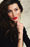 Portrait of beautiful woman  with fresh daily makeup. With red lips color Stock Photo