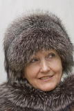 Portrait of a beautiful woman in a fur. Stock Photography