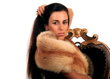 Portrait of beautiful woman in fur clothing Royalty Free Stock Photography