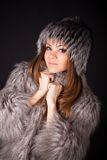 Portrait of a beautiful woman in furs Royalty Free Stock Photos