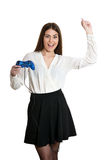 Portrait of beautiful woman. With gamepad on white background Stock Image