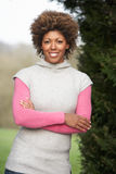 Portrait Of Beautiful Woman In Garden Stock Images