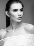 Portrait of beautiful woman girl white t-shirt Stock Photography