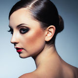 Portrait of a beautiful woman with a glamorous retro makeup Royalty Free Stock Photography