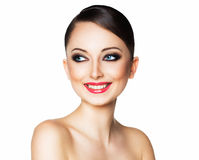 Portrait of a beautiful woman with a glamorous retro makeup Royalty Free Stock Photos