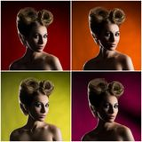 Portrait of a beautiful woman with a glamour haircut Stock Images