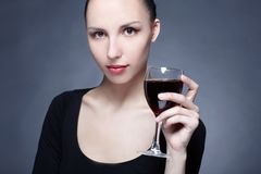 Portrait of beautiful woman with glass Royalty Free Stock Photos