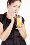 Portrait of beautiful woman with a glass of juice Stock Photo