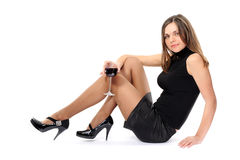 Portrait of beautiful woman with glass red wine Stock Images