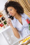 Portrait beautiful woman with glass red wine Royalty Free Stock Photos
