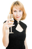 Portrait of a beautiful woman with a glass of wine Stock Images