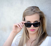 Portrait of beautiful woman with glasses Stock Images