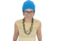 Portrait of beautiful woman in glasses wearing knitted T-short Royalty Free Stock Photo