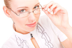 Portrait of beautiful woman with glasses on white Royalty Free Stock Photo
