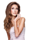 Portrait of a beautiful woman with gorgeous long hair and makeup Royalty Free Stock Image