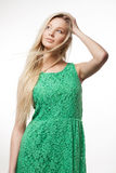 Woman in green dress Royalty Free Stock Photography