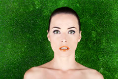 Portrait of a beautiful woman with green eyes Stock Image