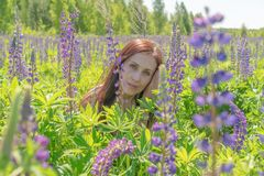 Portrait of a beautiful woman with green eyes brown long hair on a field of flowers royalty free stock image
