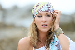 Portrait of beautiful woman in gypsy style Stock Images