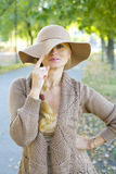 Portrait of a beautiful woman in a hat Royalty Free Stock Photo