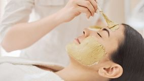 Woman getting mask in spa. Portrait of beautiful woman having mask being put on her face, lying on spa salon royalty free stock images