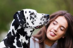 Portrait of a beautiful woman with her Dalmatian dog Royalty Free Stock Photo