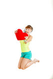 Portrait of beautiful woman hold Valentine day love symbol Stock Images
