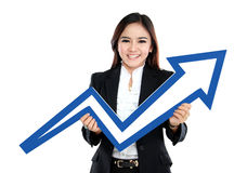 Portrait of beautiful woman holding chart arrow sign. Isolated over white background Royalty Free Stock Photo