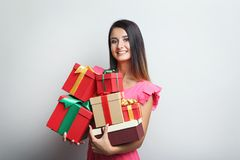 Woman holding gift boxes Royalty Free Stock Photo