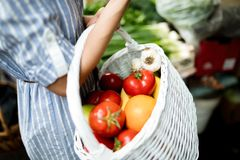 Portrait of beautiful woman holding shopping basket royalty free stock images