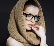 Portrait of beautiful woman with a hood Stock Image