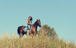 Portrait of a beautiful woman with a horse. Portrait of a beautiful woman with a horse outdoor Stock Photography