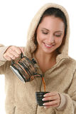 Portrait of a beautiful woman with hot tea Stock Image