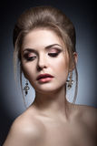Portrait of a beautiful woman in the image of the bride. Beauty face. Royalty Free Stock Photo
