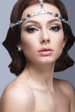 Portrait of a beautiful woman in the image of the bride. Beauty face. Stock Photography