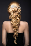 Portrait of a beautiful woman in the image of the bride with lace in her hair. Beauty face. wedding hairstyle back view