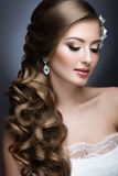 Portrait of a beautiful woman in the image of the bride. Stock Image