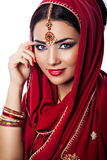 Portrait of beautiful woman in indian style Stock Photography