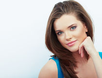 Portrait of Beautiful Woman. isolated white background. Royalty Free Stock Image